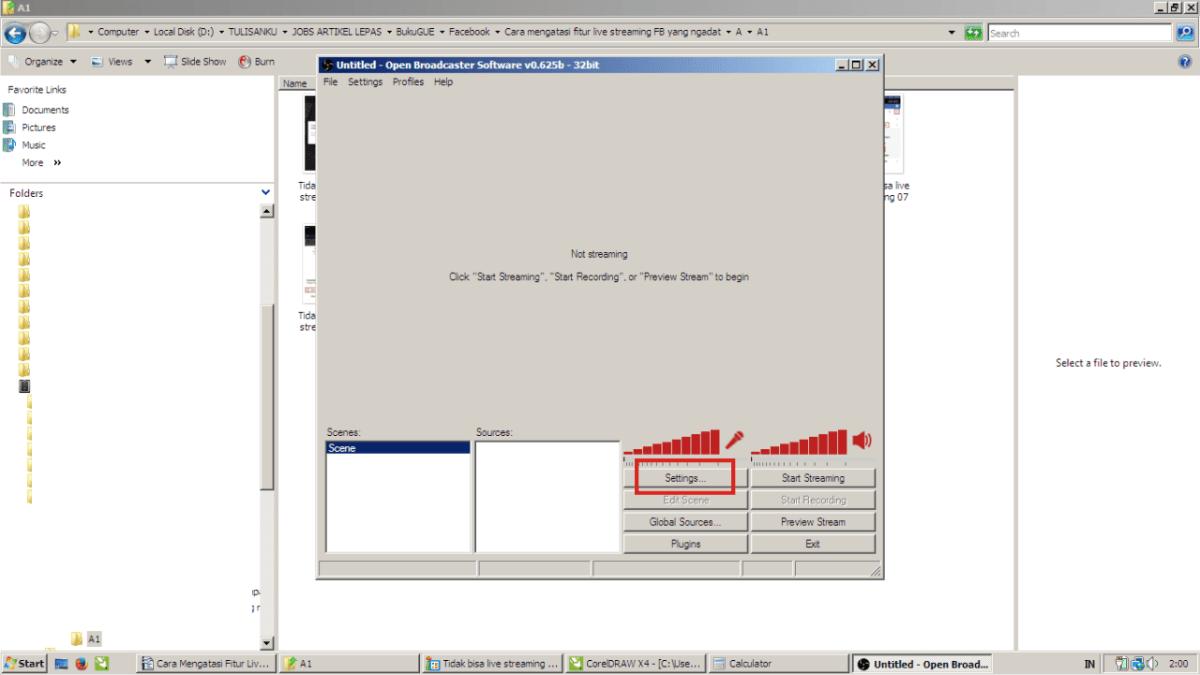 Gambar 11. Buka OBS Studio, dan tab settingannya.
