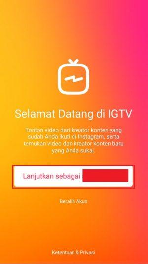 Tampilan halaman awal aplikasi IGTV