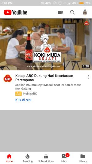 tampilan depan aplikasi youtube