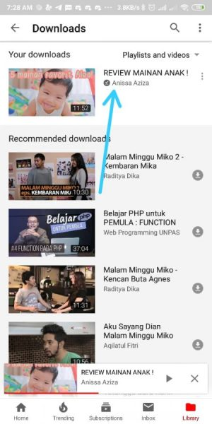 Video yang sudah d download