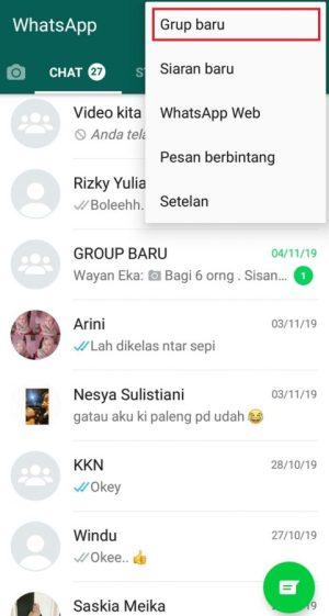 """Pilih """"Grup baru"""" untuk membuat grup"""