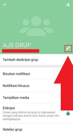Pilih ikon pensil untuk menambahkan deskripsi grup