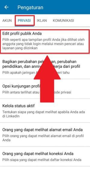 """Edit Profil Publik"" untuk mengedit profil"