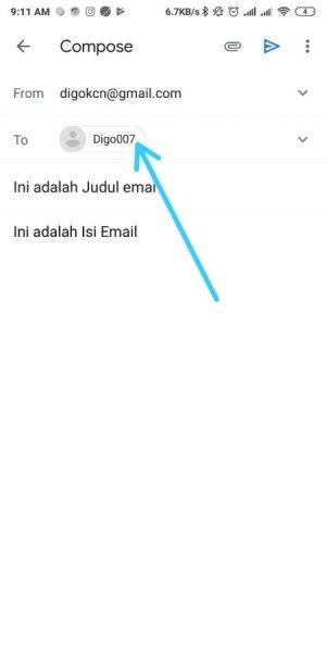 Masukkan Alamat email tujuan