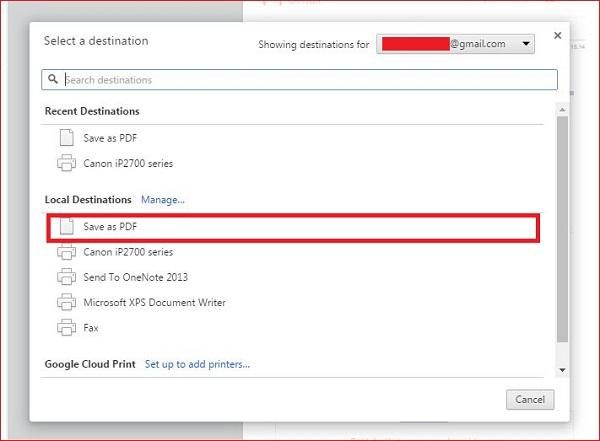 """Memilih """"Save as pdf"""" untuk mengubah email menjadi pdf"""