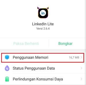 Penggunaan memori aplikasi LinkedIn Lite