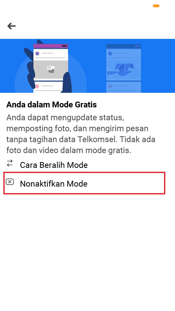 """tap """"nonaktifkan mode"""" untuk menonaktifkan mode Facebook Free"""