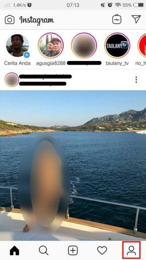 Tab ikon profil Instagram.