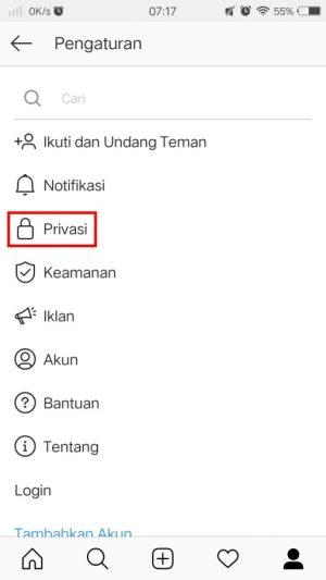 Tab privasi Instagram.
