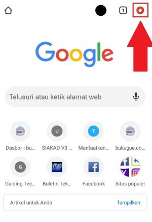 Membuka menu pada browser
