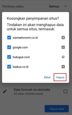 """Pilih """"hapus"""" untuk menghapus data situs"""