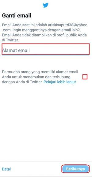 Masukkan alamat email baru
