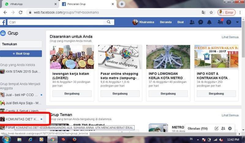 Cara menghilangkan notifikasi grup facebook