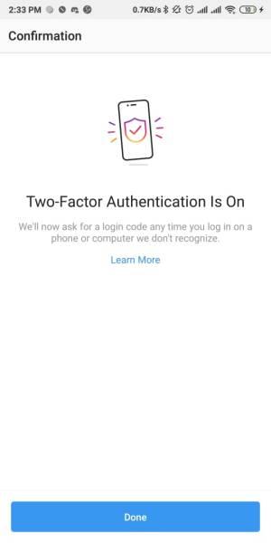 Authentikasi dua faktor berhasil di aktifkn