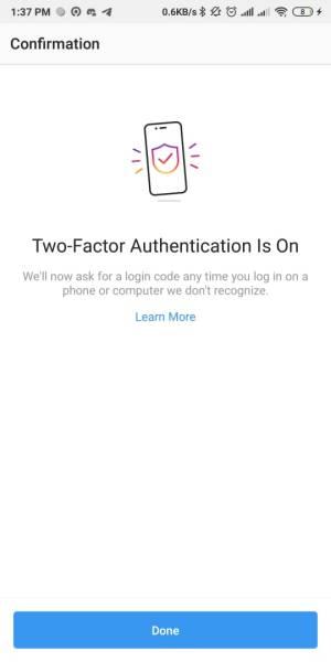 Authentifikasi dua Faktor sudah aktif