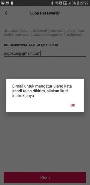 Cek email untuk verifikasi akun