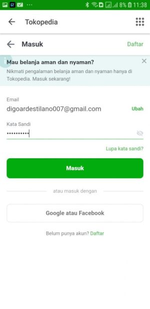 Login Tokopedia