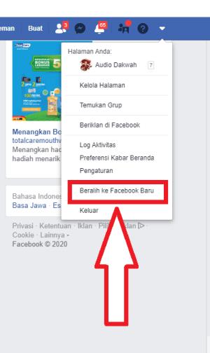 pilih beralih ke akun facebook baru