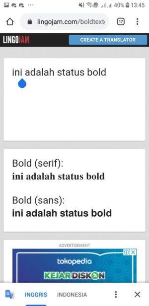 Text Bold akan muncul