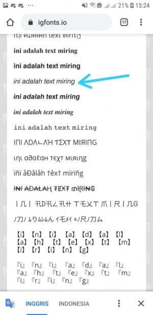 pilih text miring