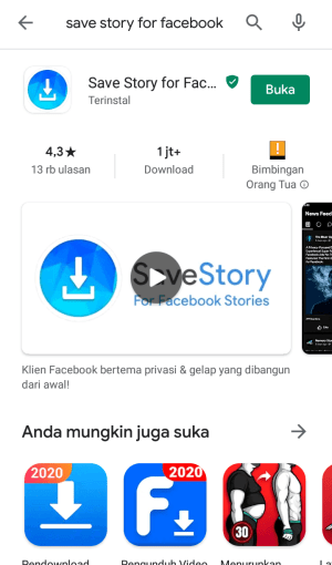 buka aplikasi save story for facebook