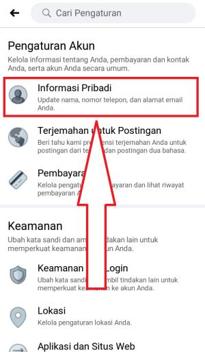 masuk ke informasi pribadi