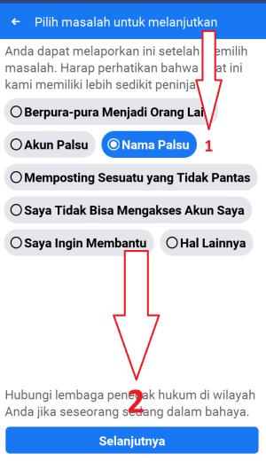 pilih nama palsu dan klik selanjutnya