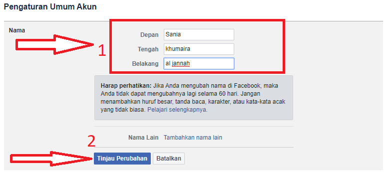 ubah nama dan klik tijau perubahan