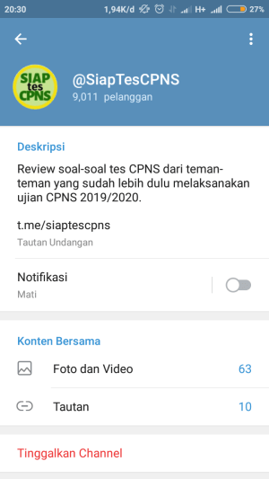 tampilan deskripsi channel di telegram