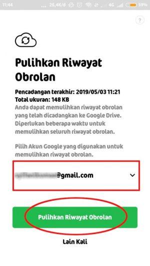 pilih alamat email untuk back up data