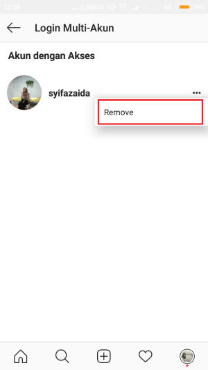 "tap ikon tiga titik lalu ""remove"""