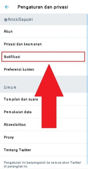 "Pilih ""Notifikasi"" untuk masuk ke pengaturan notifikasi"