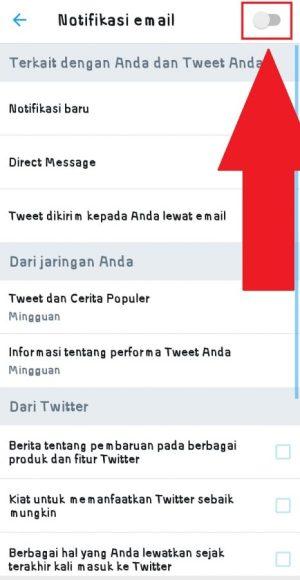 Gulir ke kiri pada tombol untuk matikan notifikasi email di Twitter