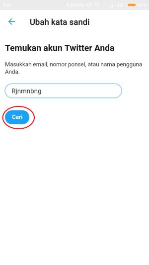 isi kolom dengan username atau alamat email