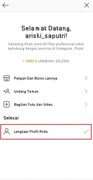"""Pilih """"Lengkapi profil anda"""" untuk melengkapi profil Instagram Bisnis"""