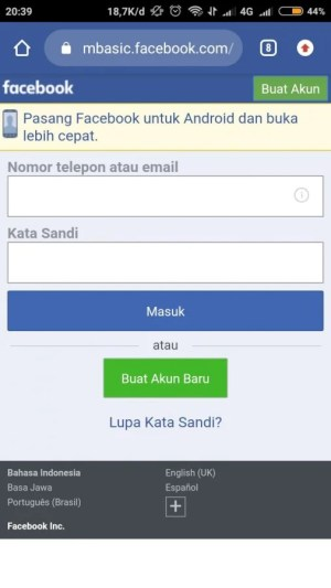 login facebook basic