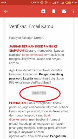 buka email dan lihat kode verifikasi yang dikirimkan