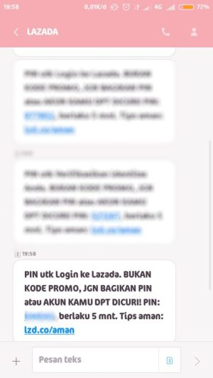 lihat kode verifikasi pada SMS