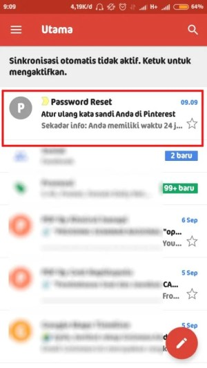 buka pesan email dari Pinterest