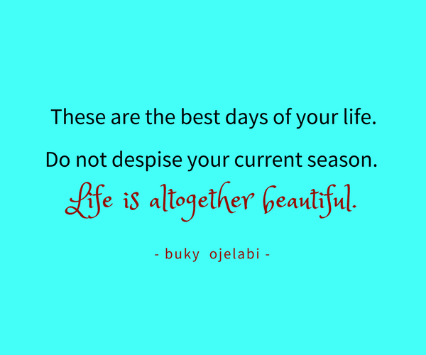 These are the best days of your life. Do not despise your current season. Life is altogether beautiful. - buky ojelabi -