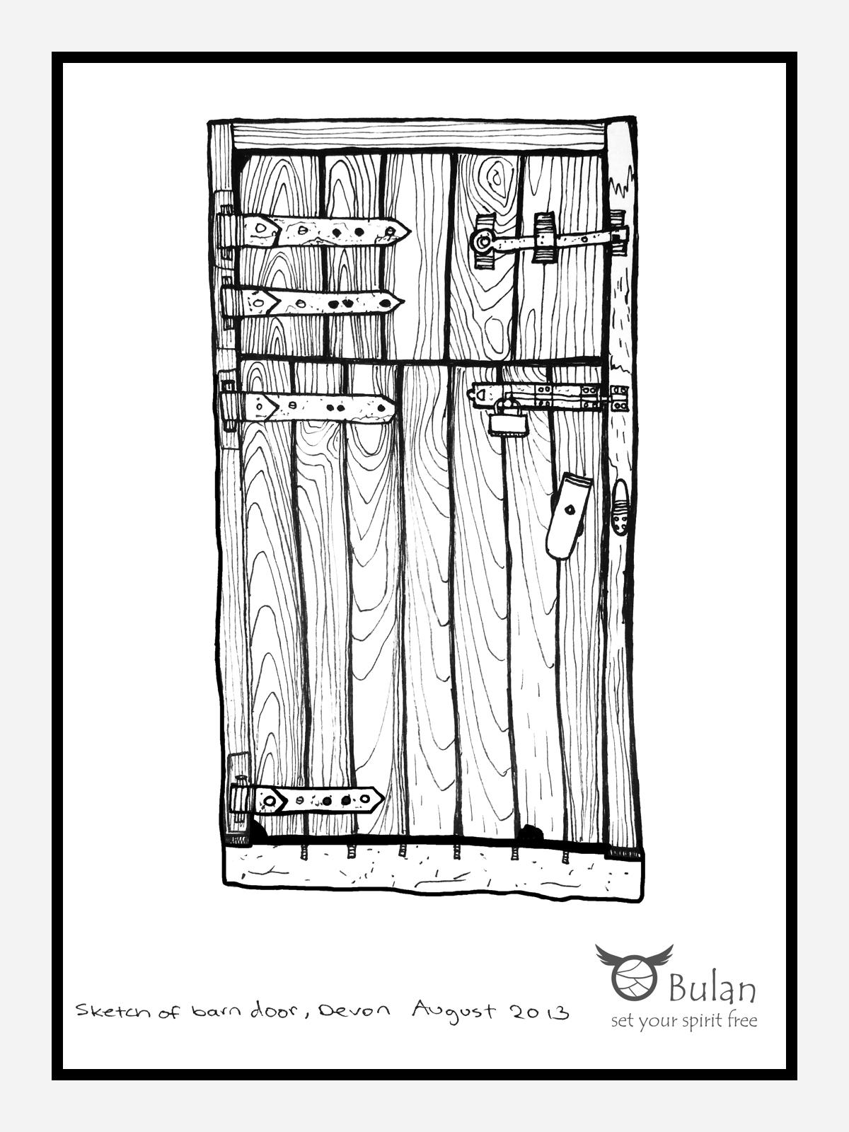 Sketch of the day no 109: Barn door in #Devon