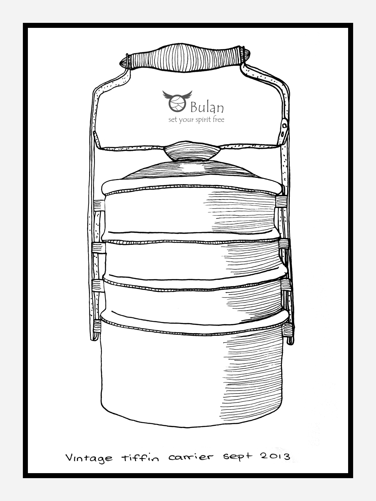 Sketch Of The Day No 151 Vintage Chinese Tiffin Carrier