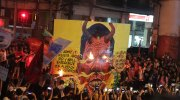 'Duterte the Terrorist' mural set in flames