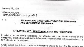 Rights group slams NFA memo requiring employees to submit personal info to AFP