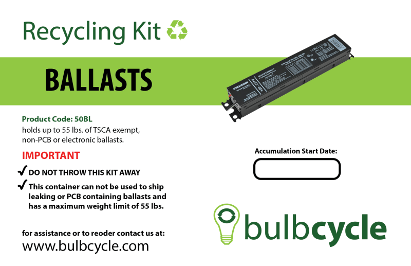 BulbCycle non-PCB ballast recycling kit label