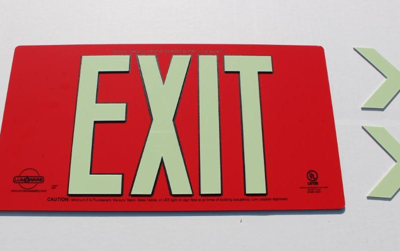 Photoluminescent Exit Sign, Single Sided, Red Aluminum Composite