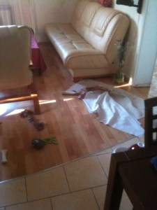 serweta na podłodze