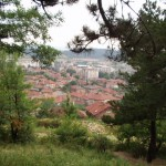View of Panagurishte, Bulgaria from soviet-era monument on hilltop
