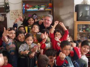 """""""The Doctor"""" Miladin and friends at the Bratsigovo Orphanage."""