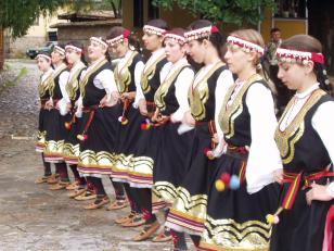 Koprivshtitsa Folk Festival, dancers practicing before going onstage.